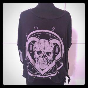 Seneca Rising Skull Heart goth metal rocker Shirt